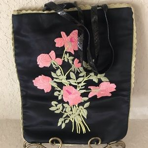 Beautiful Vintage DKNY Embroidered Flower Tote Bag